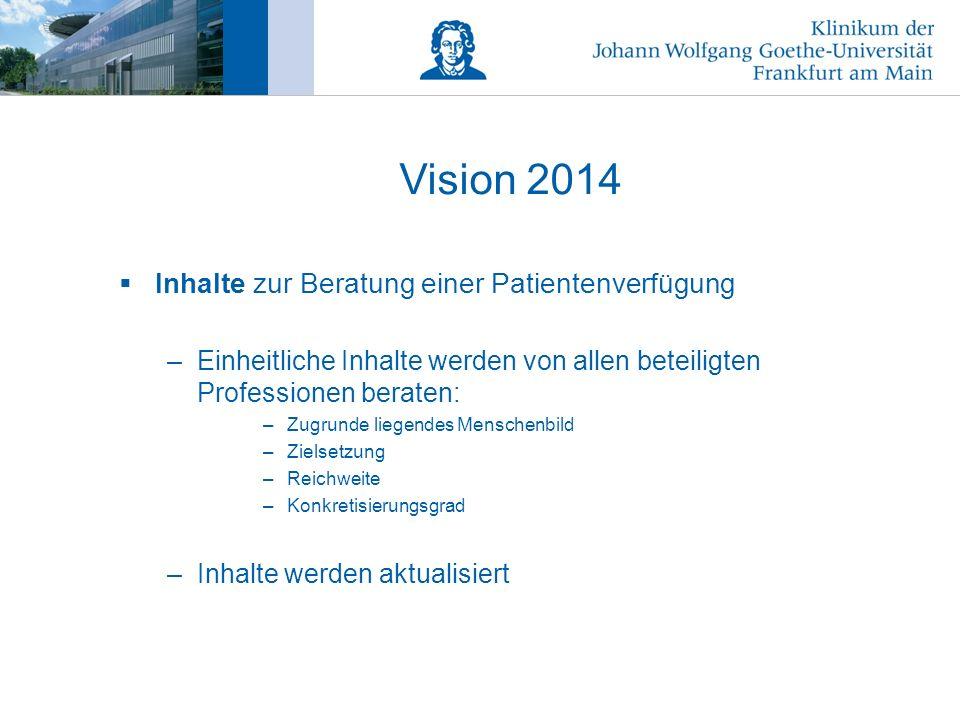 Vision 2014 Inhalte zur Beratung einer Patientenverfügung