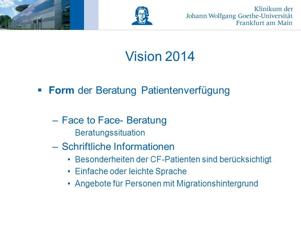 Vision 2014 Form der Beratung Patientenverfügung
