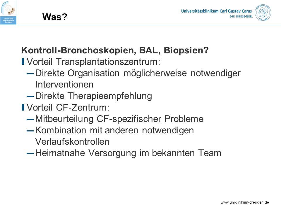 Kontroll-Bronchoskopien, BAL, Biopsien
