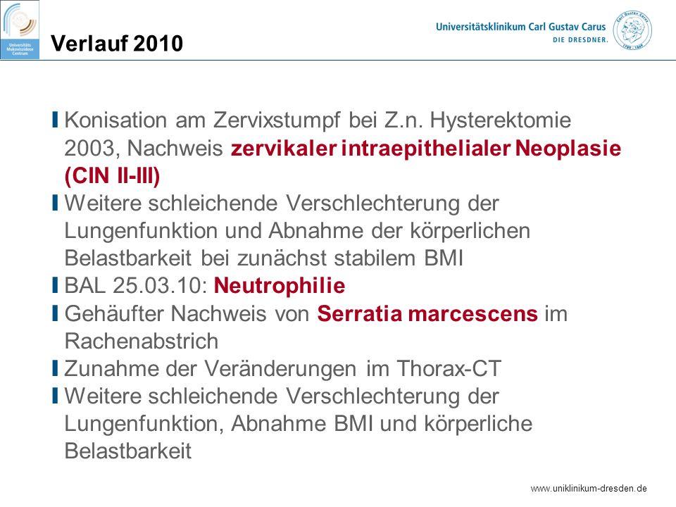 Verlauf 2010 Konisation am Zervixstumpf bei Z.n. Hysterektomie 2003, Nachweis zervikaler intraepithelialer Neoplasie (CIN II-III)