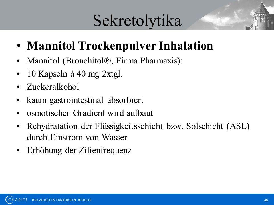 Sekretolytika Mannitol Trockenpulver Inhalation