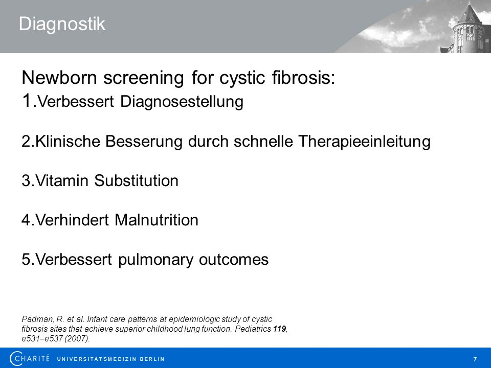 Newborn screening for cystic fibrosis: 1.Verbessert Diagnosestellung