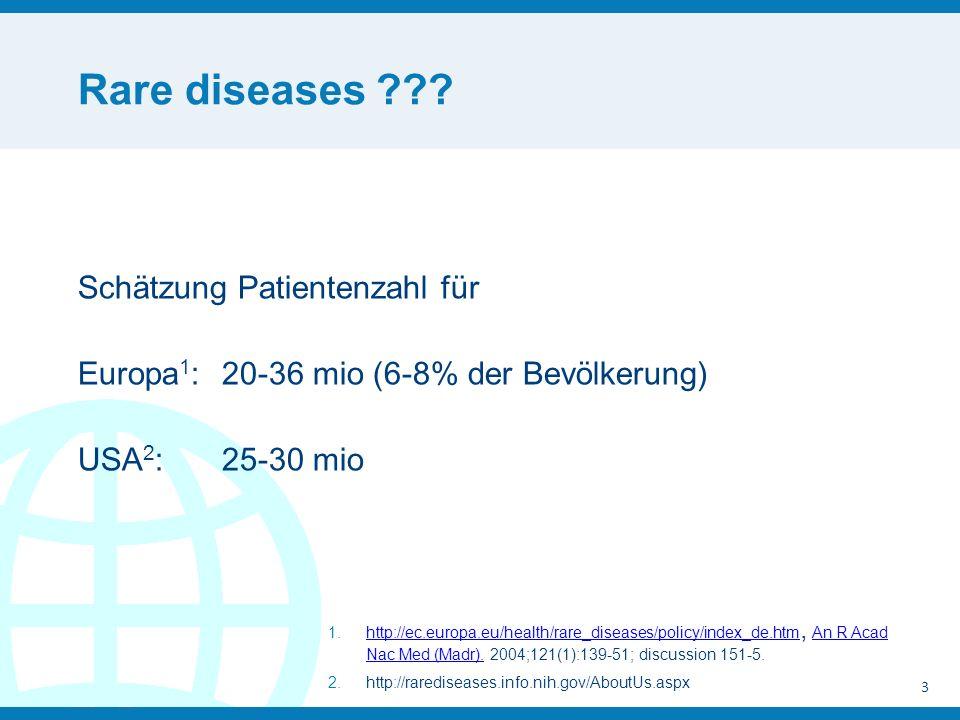 Rare diseases Schätzung Patientenzahl für Europa1: 20-36 mio (6-8% der Bevölkerung) USA2: 25-30 mio