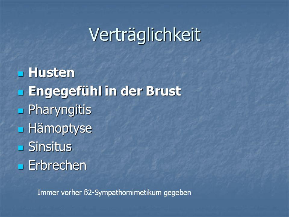 Verträglichkeit Husten Engegefühl in der Brust Pharyngitis Hämoptyse