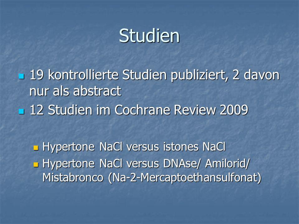 Studien 19 kontrollierte Studien publiziert, 2 davon nur als abstract