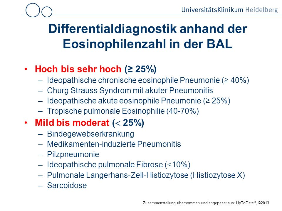 Differentialdiagnostik anhand der Eosinophilenzahl in der BAL