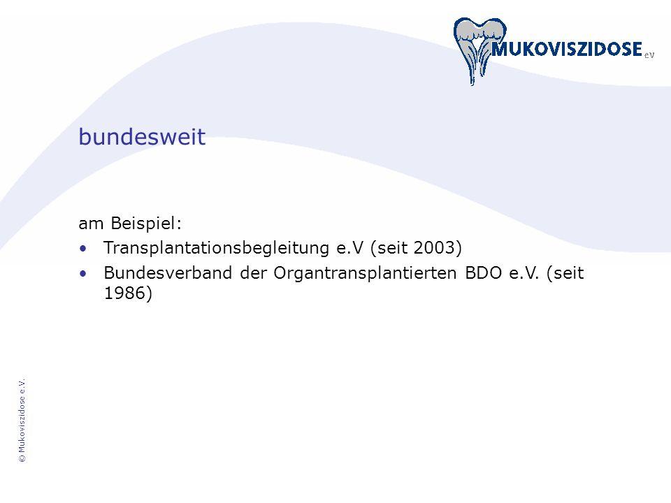 bundesweit am Beispiel: Transplantationsbegleitung e.V (seit 2003)