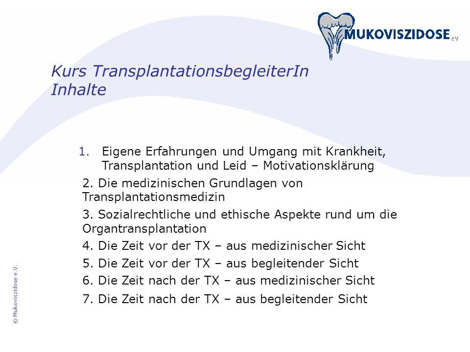 Kurs TransplantationsbegleiterIn Inhalte
