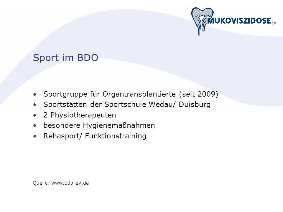 Sport im BDO Sportgruppe für Organtransplantierte (seit 2009)