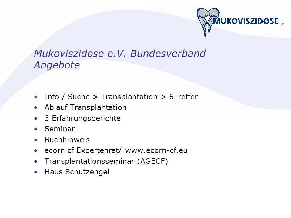 Mukoviszidose e.V. Bundesverband Angebote