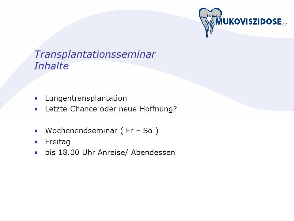 Transplantationsseminar Inhalte