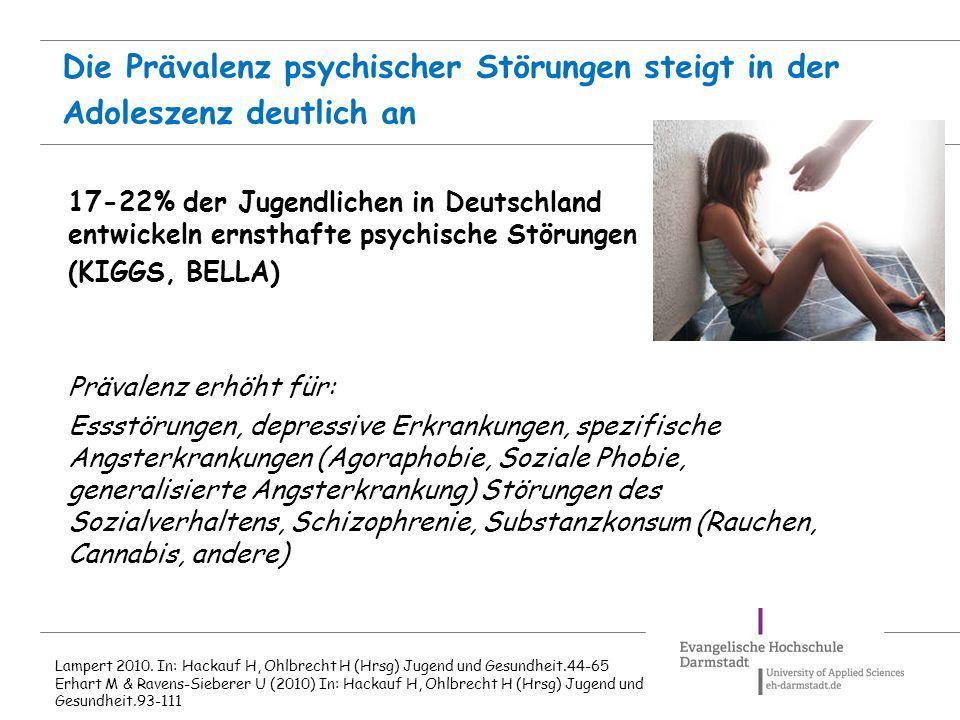 Die Prävalenz psychischer Störungen steigt in der Adoleszenz deutlich an