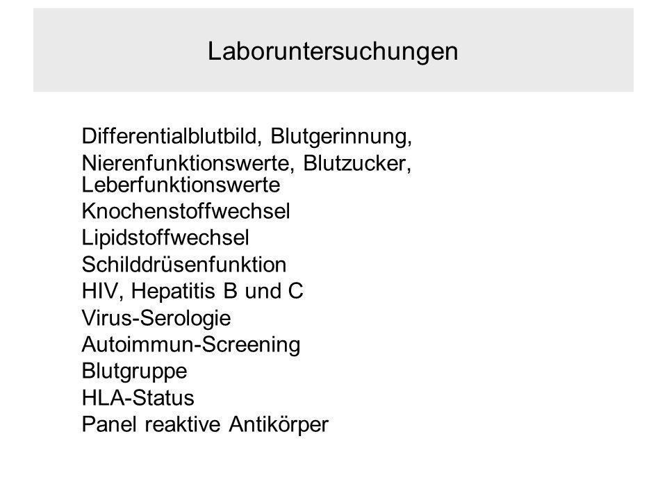 Laboruntersuchungen Differentialblutbild, Blutgerinnung, Nierenfunktionswerte, Blutzucker, Leberfunktionswerte.