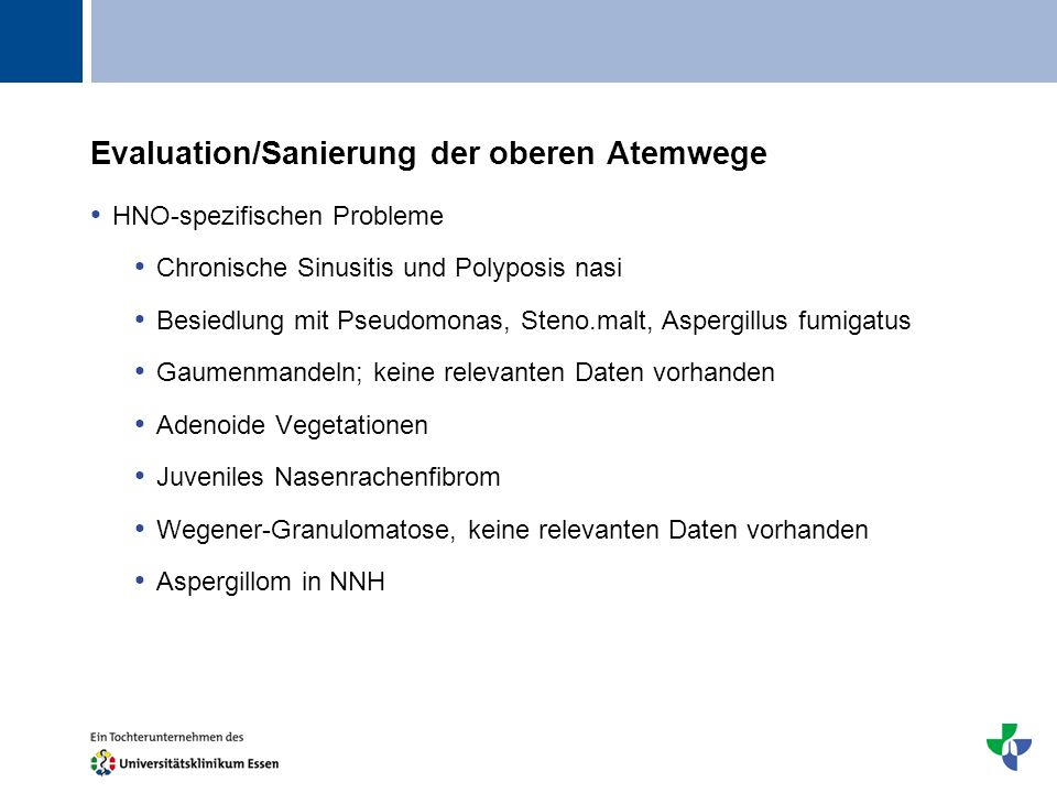 Evaluation/Sanierung der oberen Atemwege
