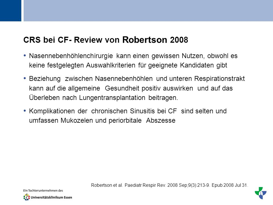 CRS bei CF- Review von Robertson 2008