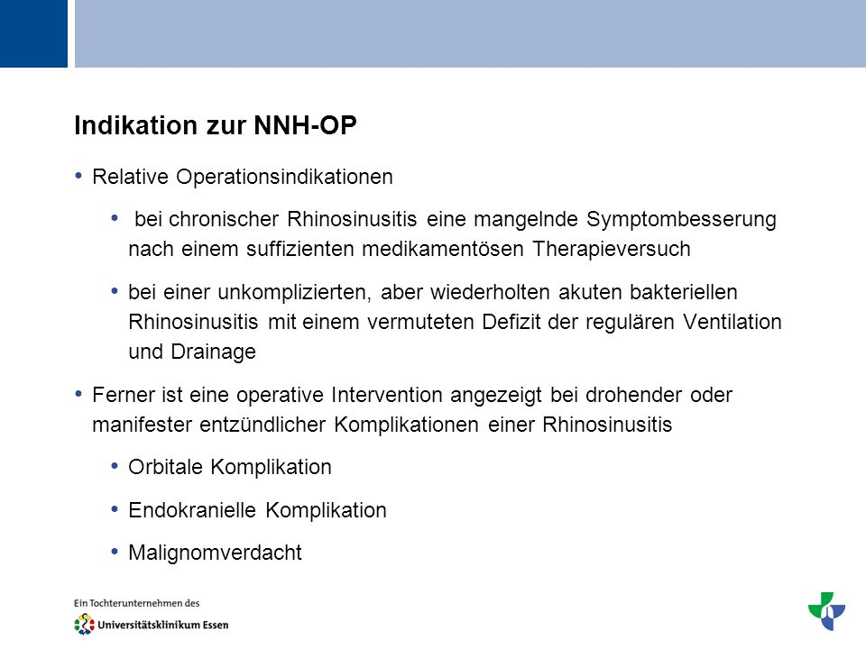 Indikation zur NNH-OP Relative Operationsindikationen