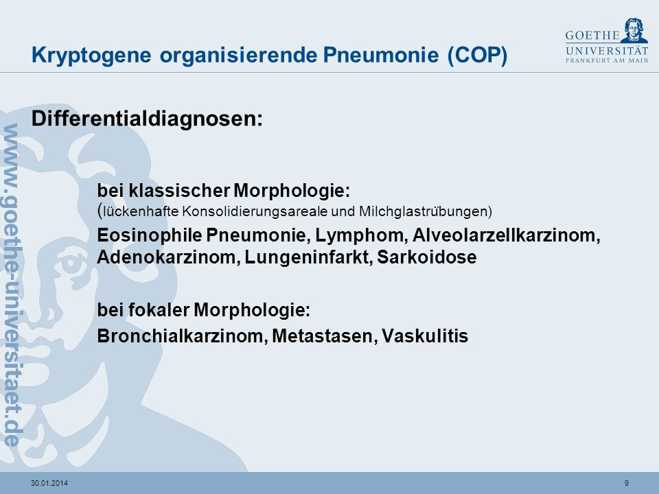 Kryptogene organisierende Pneumonie (COP)