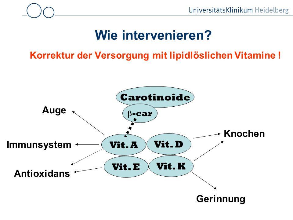 Wie intervenieren Korrektur der Versorgung mit lipidlöslichen Vitamine !