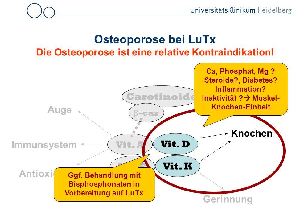 Osteoporose bei LuTx Die Osteoporose ist eine relative Kontraindikation!
