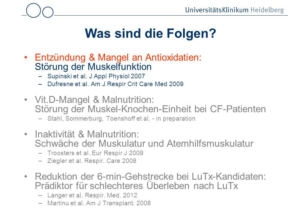 Was sind die Folgen Entzündung & Mangel an Antioxidatien: Störung der Muskelfunktion. Supinski et al. J Appl Physiol 2007.