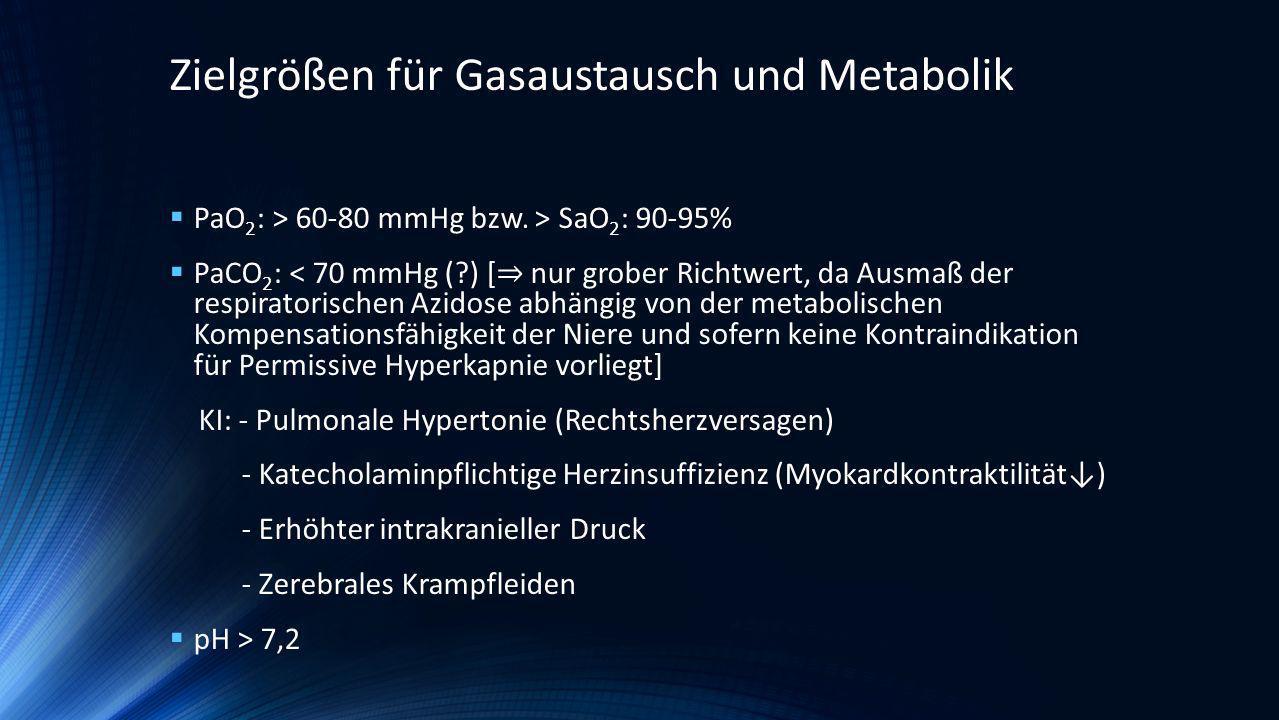 Zielgrößen für Gasaustausch und Metabolik