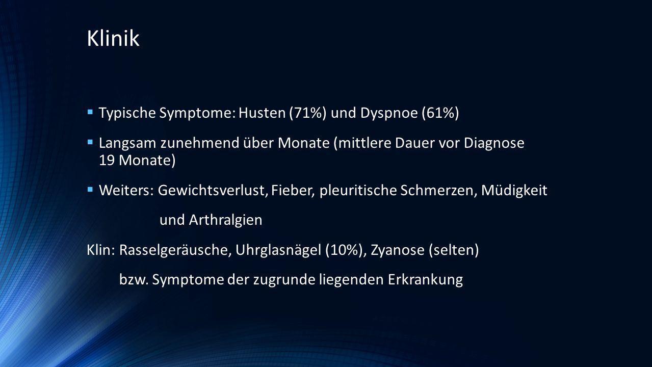Klinik Typische Symptome: Husten (71%) und Dyspnoe (61%)