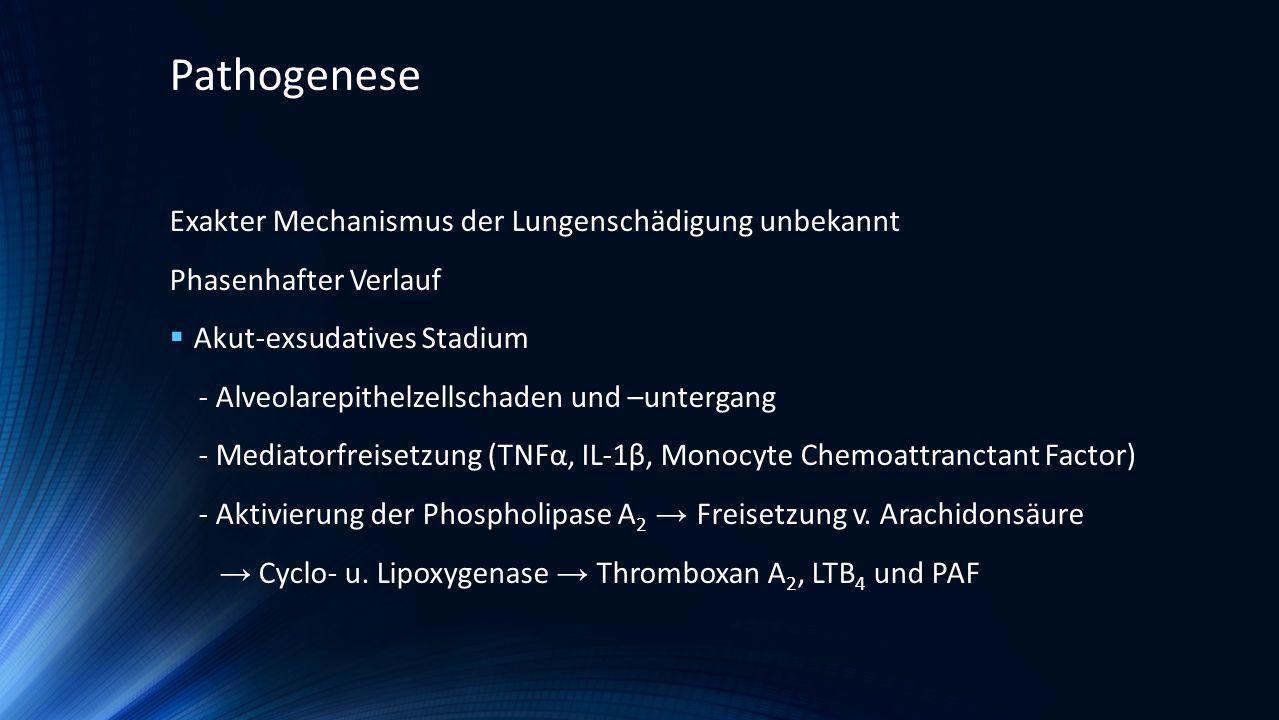 Pathogenese Exakter Mechanismus der Lungenschädigung unbekannt