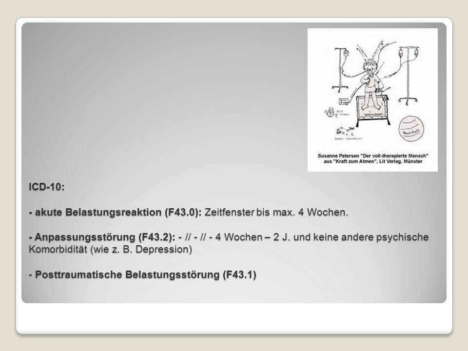 ICD-10: - akute Belastungsreaktion (F43. 0): Zeitfenster bis max