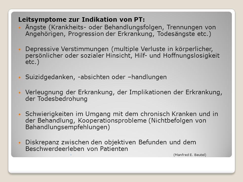 Leitsymptome zur Indikation von PT: