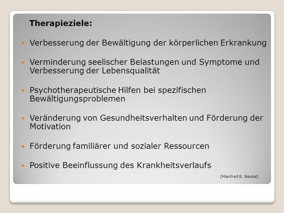 Therapieziele: Verbesserung der Bewältigung der körperlichen Erkrankung.