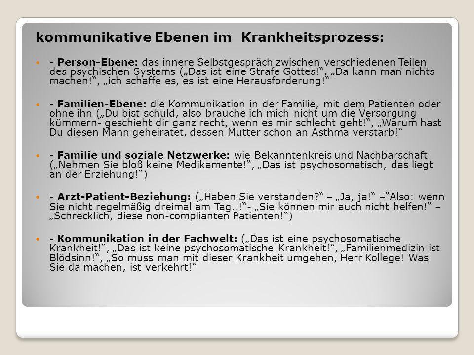 kommunikative Ebenen im Krankheitsprozess: