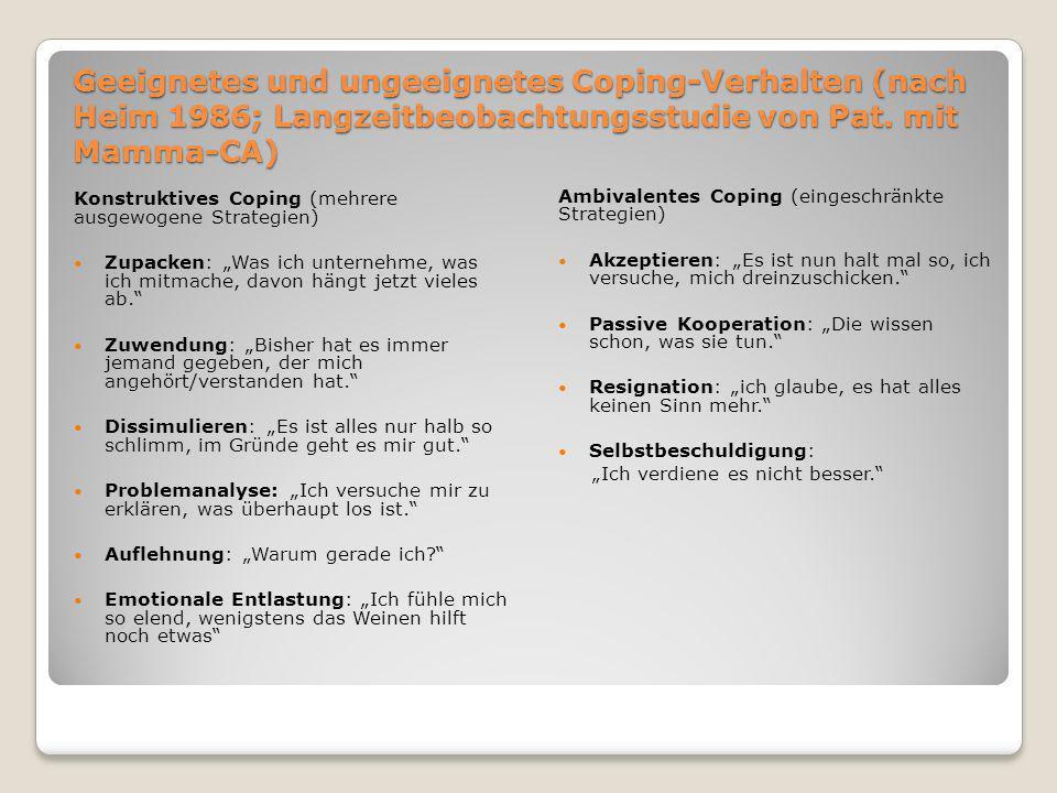 Geeignetes und ungeeignetes Coping-Verhalten (nach Heim 1986; Langzeitbeobachtungsstudie von Pat. mit Mamma-CA)
