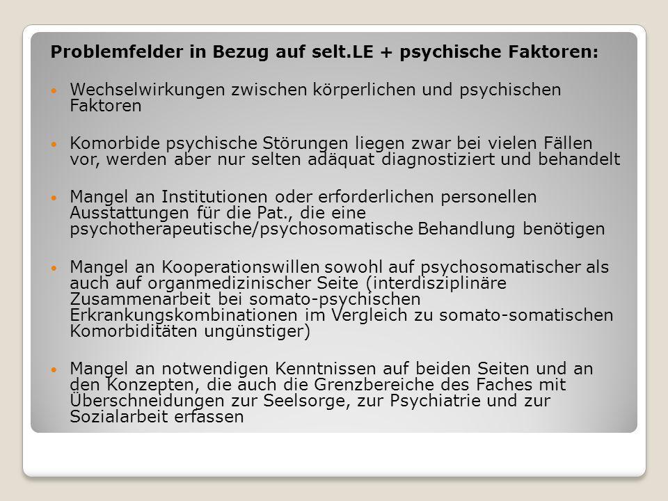 Problemfelder in Bezug auf selt.LE + psychische Faktoren:
