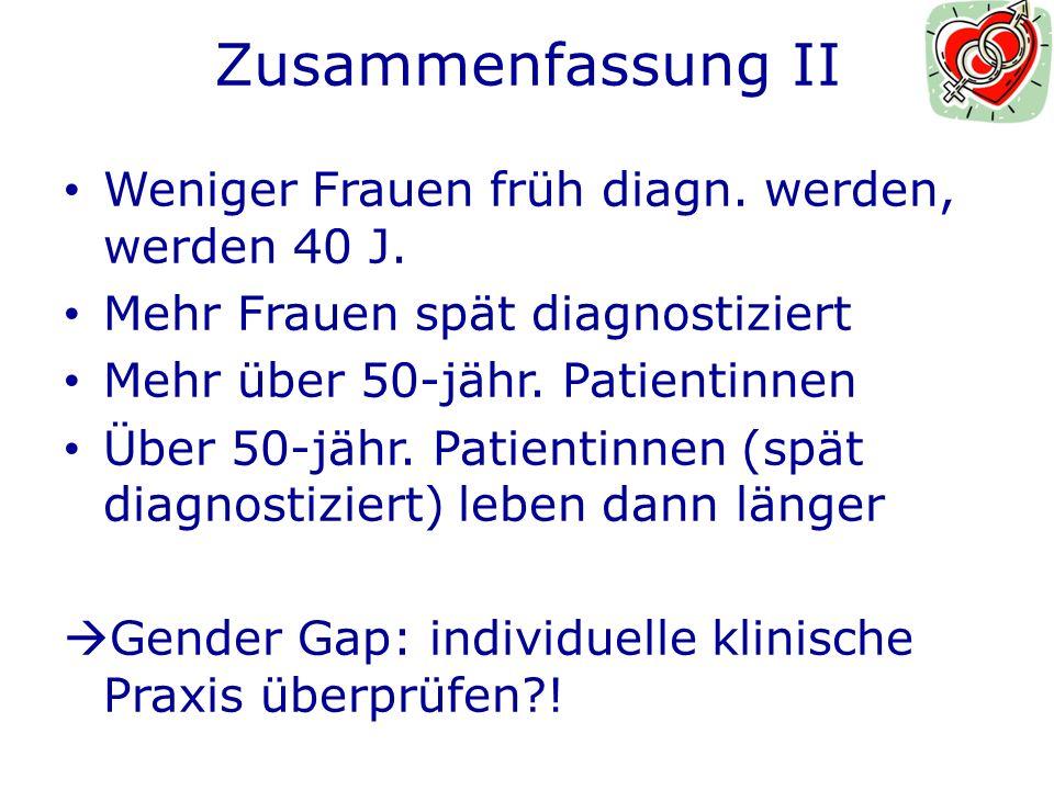 Zusammenfassung II Weniger Frauen früh diagn. werden, werden 40 J.