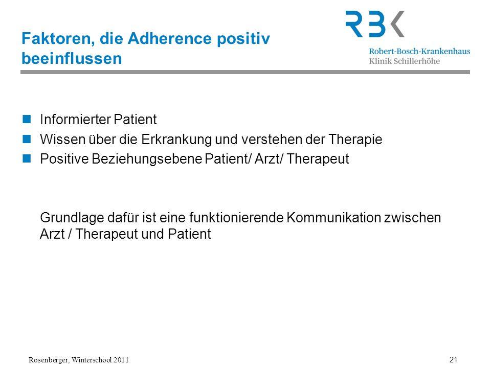 Faktoren, die Adherence positiv beeinflussen