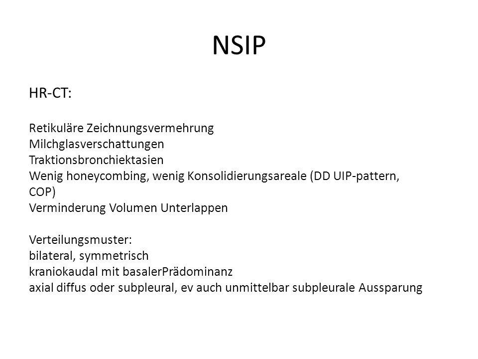 NSIP HR-CT: Retikuläre Zeichnungsvermehrung Milchglasverschattungen