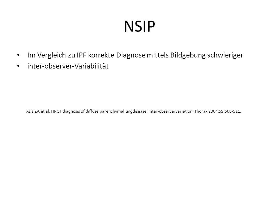 NSIP Im Vergleich zu IPF korrekte Diagnose mittels Bildgebung schwieriger. inter-observer-Variabilität.