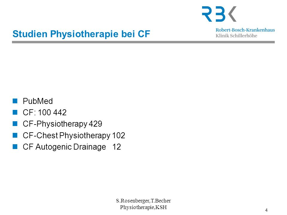Studien Physiotherapie bei CF