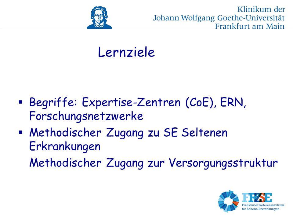 Lernziele Begriffe: Expertise-Zentren (CoE), ERN, Forschungsnetzwerke