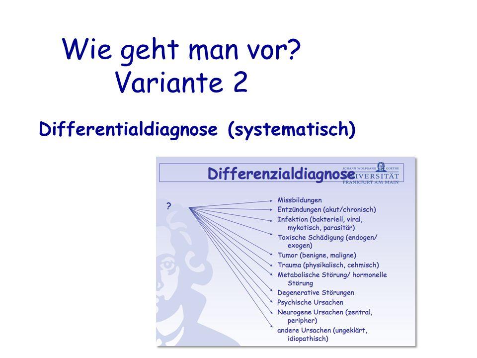 Wie geht man vor Variante 2 Differentialdiagnose (systematisch)