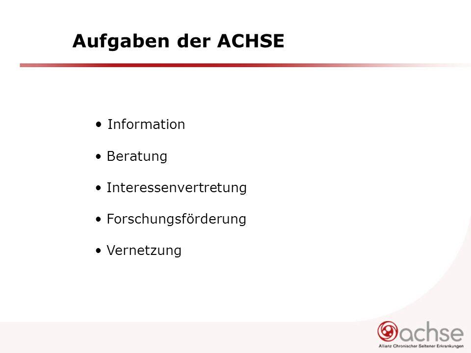Aufgaben der ACHSE Information Beratung Interessenvertretung