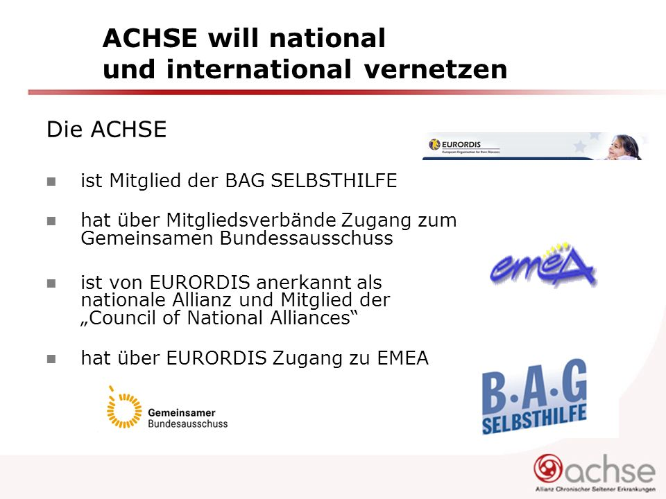 ACHSE will national und international vernetzen