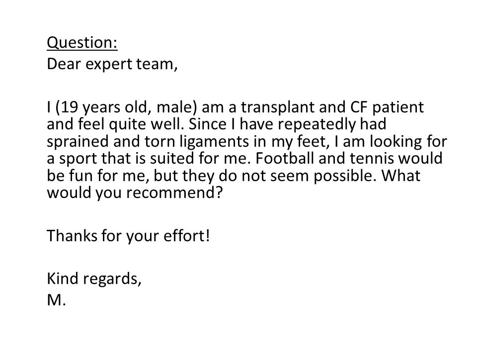 Question: Dear expert team,