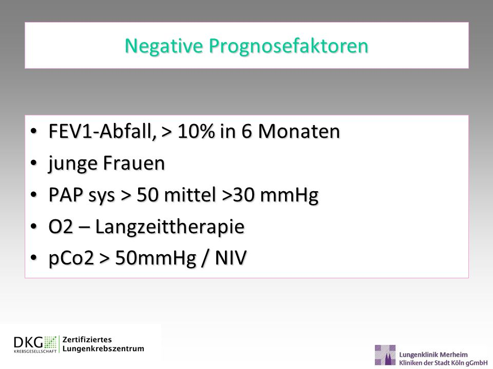 Negative Prognosefaktoren