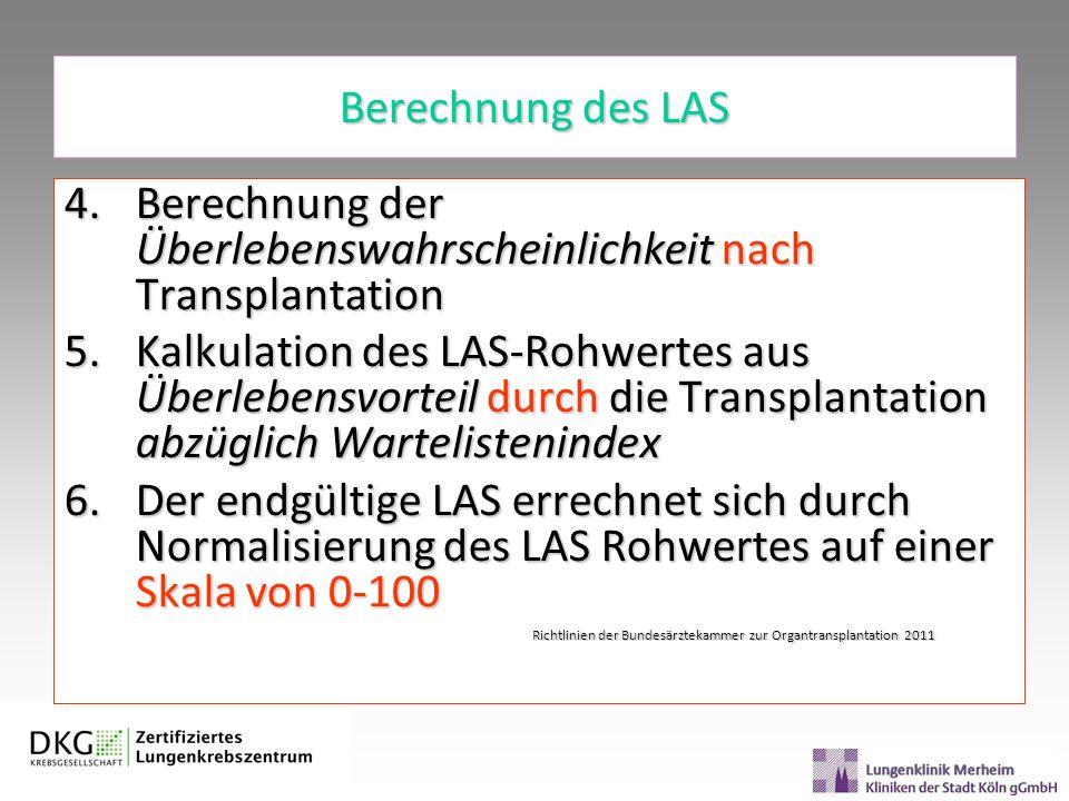 Berechnung der Überlebenswahrscheinlichkeit nach Transplantation