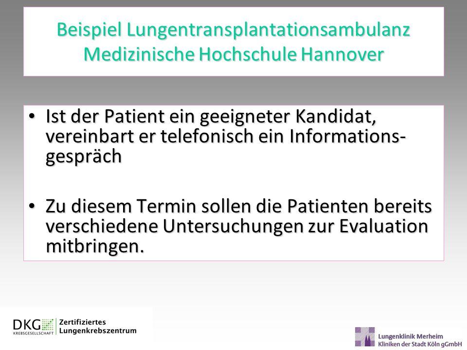 Beispiel Lungentransplantationsambulanz Medizinische Hochschule Hannover