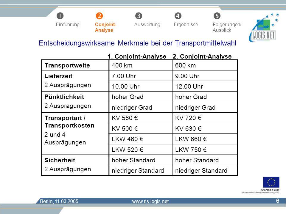 Entscheidungswirksame Merkmale bei der Transportmittelwahl