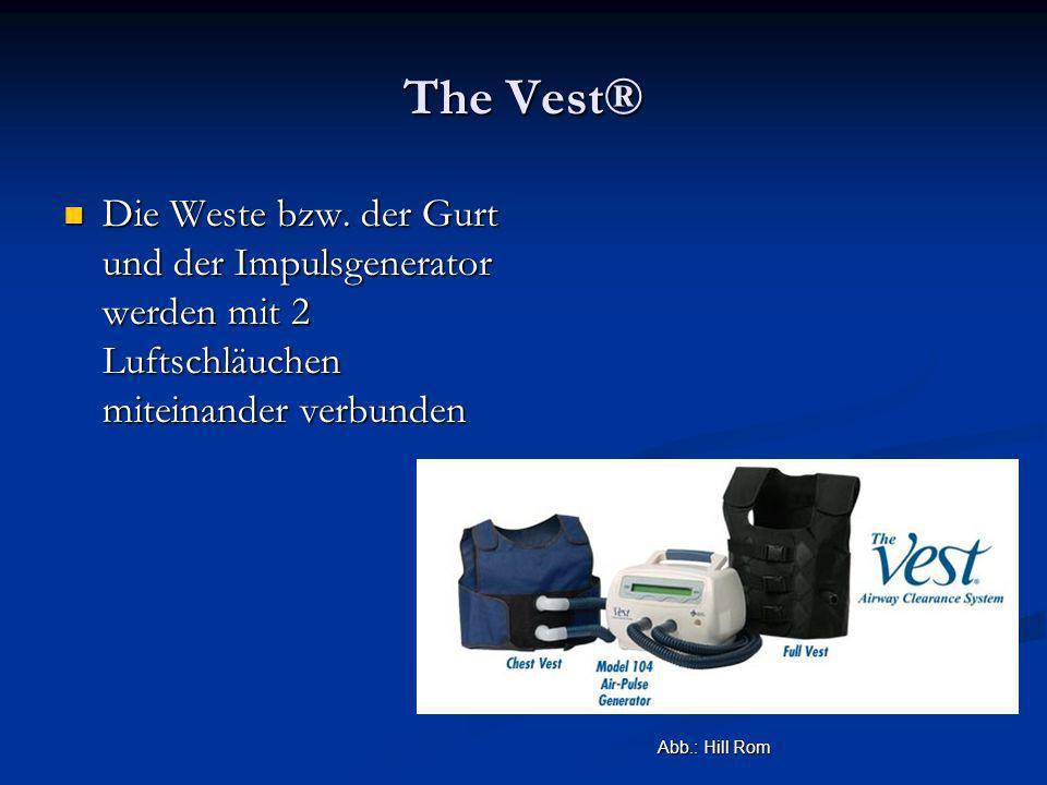 The Vest® Die Weste bzw. der Gurt und der Impulsgenerator werden mit 2 Luftschläuchen miteinander verbunden.