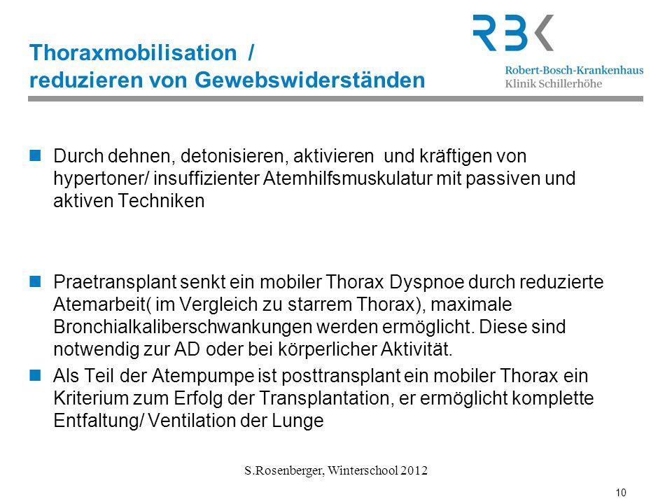 Thoraxmobilisation / reduzieren von Gewebswiderständen