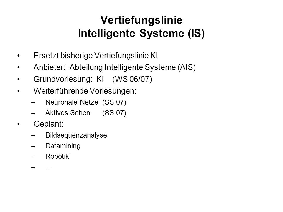 Vertiefungslinie Intelligente Systeme (IS)